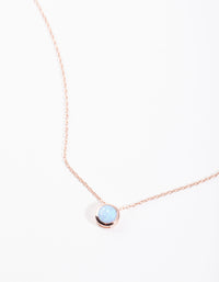 Rose Gold Plated Sterling Silver Synthetic Opal Bezel Pendant Necklace - link has visual effect only