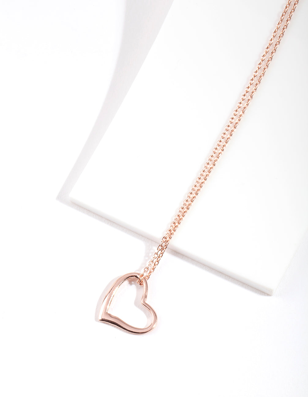 Rose Gold Plated Sterling Silver Open Heart Necklace