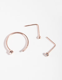 Rose Gold Plated Sterling Silver Diamante Nose Piercing 3 Pack - link has visual effect only