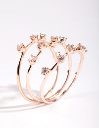 Rose Gold Cubic Zirconia Pattern Ring Stack - link has visual effect only