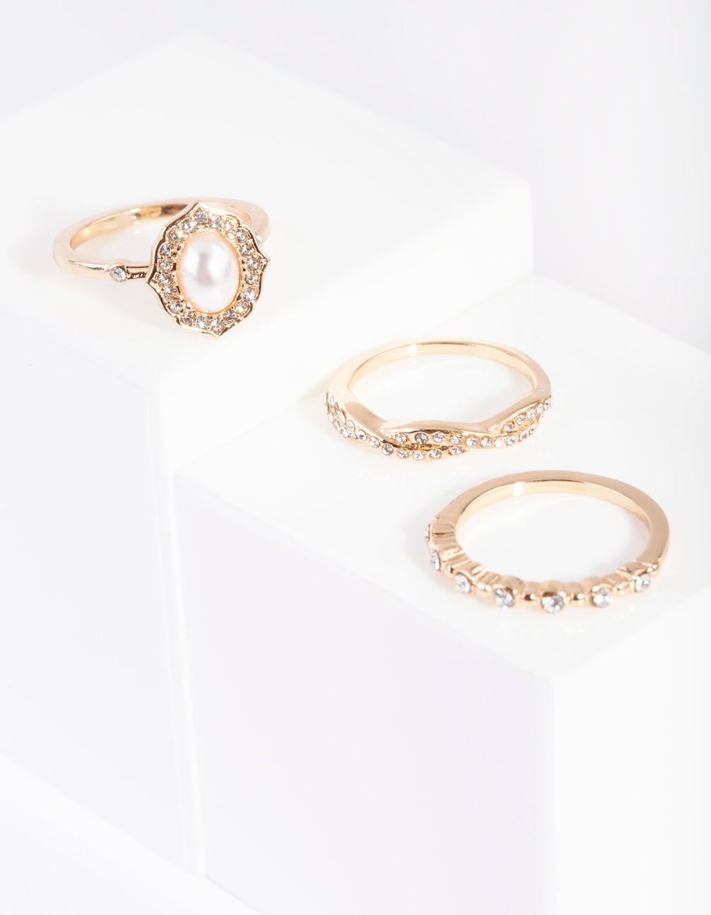 Gold Classic Engagement Ring 3 Pack