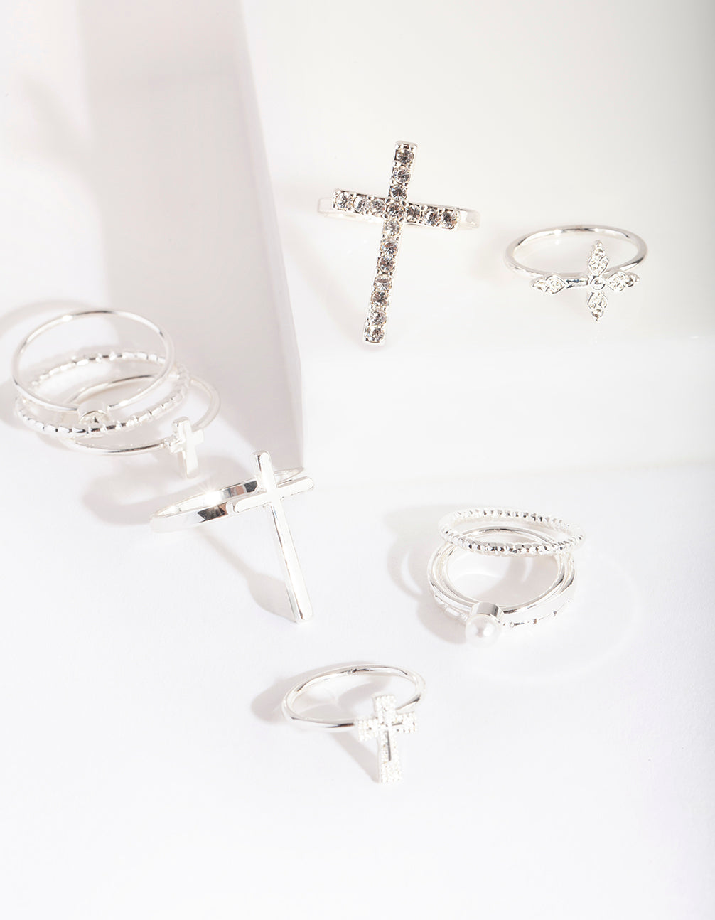Silver Diamante Cross Ring