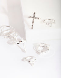 Silver Diamante Cross Ring - link has visual effect only