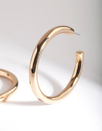 Real Gold Plated Large Open Hoop Earring - link has visual effect only