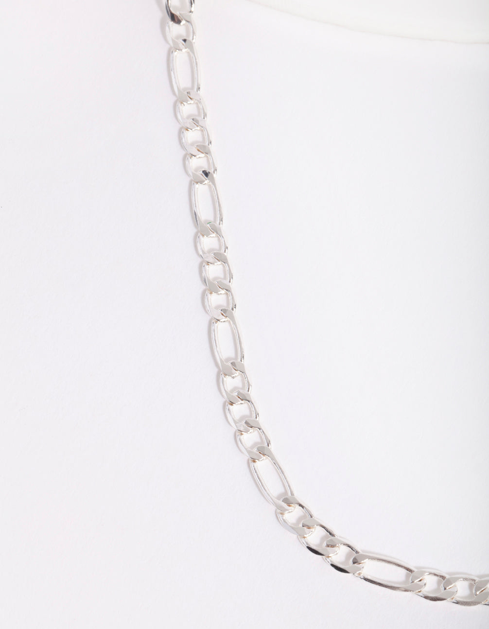 Real Silver Plated Figaro Chain Necklace