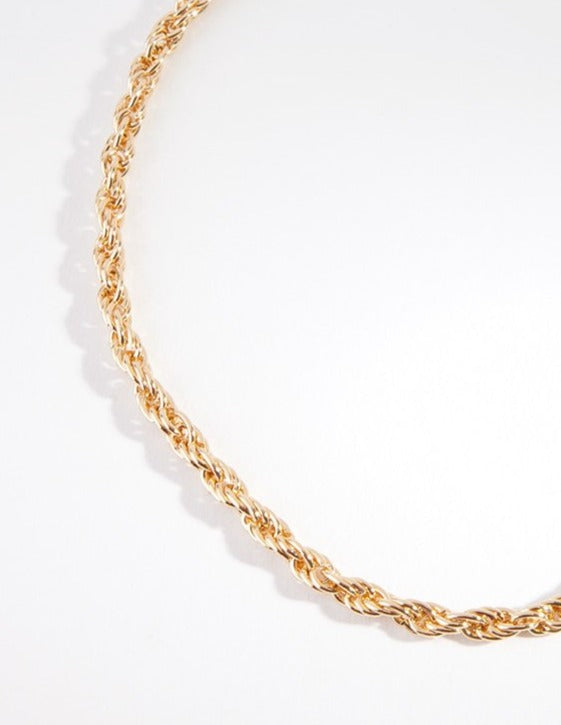 Real Gold Plated 40cm Rope Chain Necklace