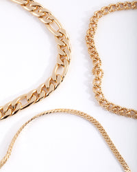 Real Gold Plated Statement Mixed Chain Anklet Trio - link has visual effect only