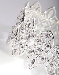 Silver Filigree Diamante Stretch Bangle - link has visual effect only