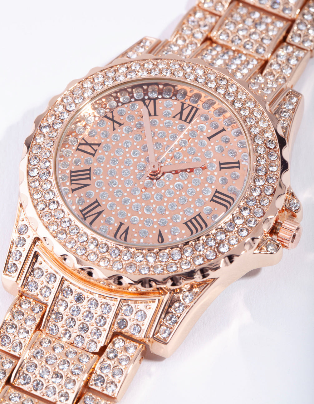 Rose Gold Bling Link Watch
