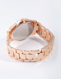 Rose Gold Bling Link Watch - link has visual effect only