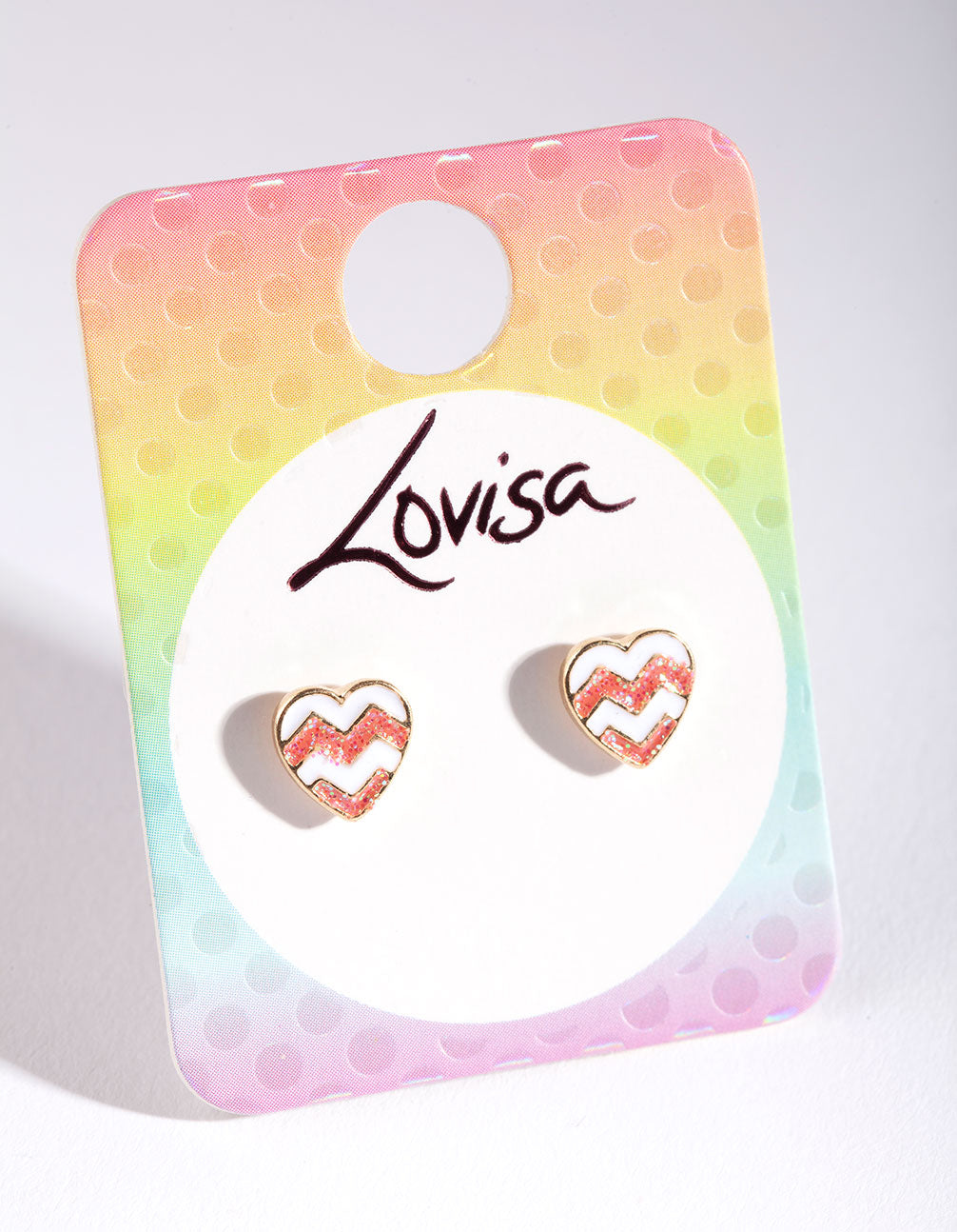 Kids Gold Chevron Heart Stud Earring