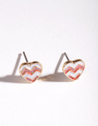 Kids Gold Chevron Heart Stud Earring - link has visual effect only