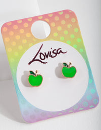 Kids Green Apple Stud Earring - link has visual effect only