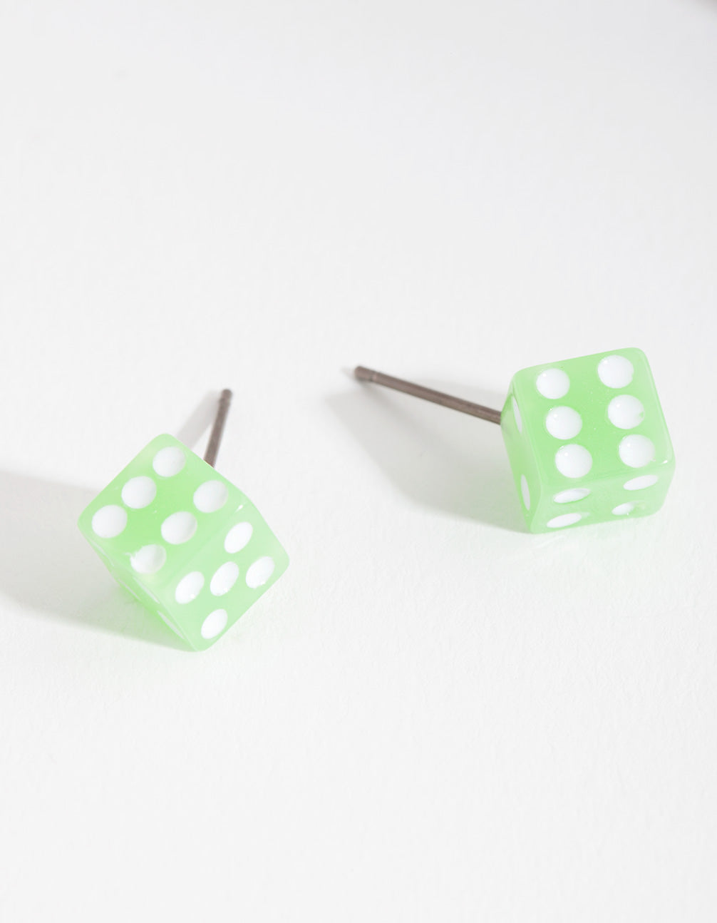 Kids Green Dice Earring