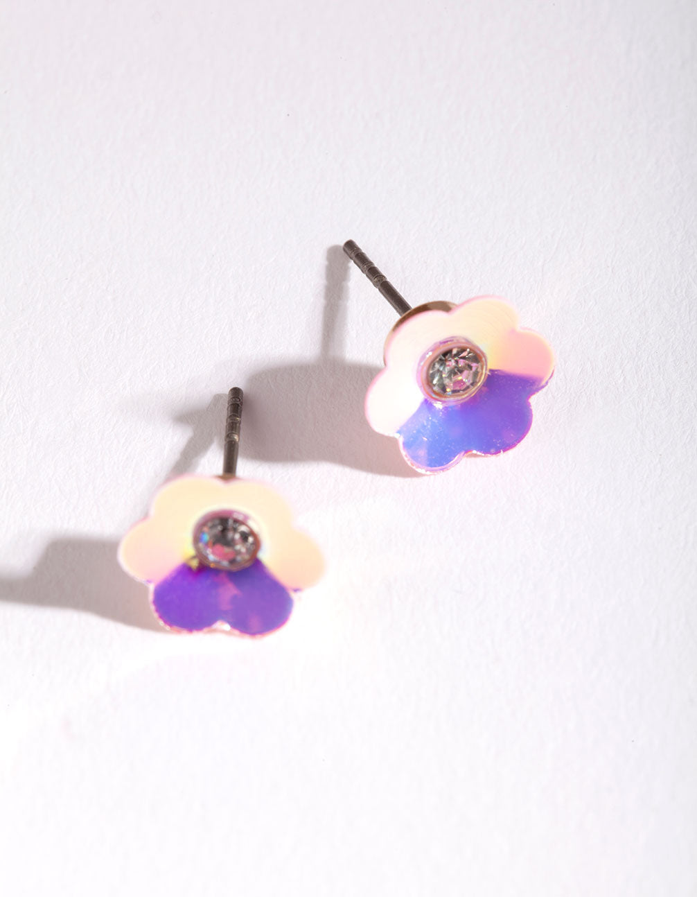 Kids Plastic Sequin Flower Stud Earrings