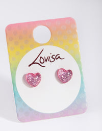 Kids Pink Glitter Heart Stud Earring - link has visual effect only