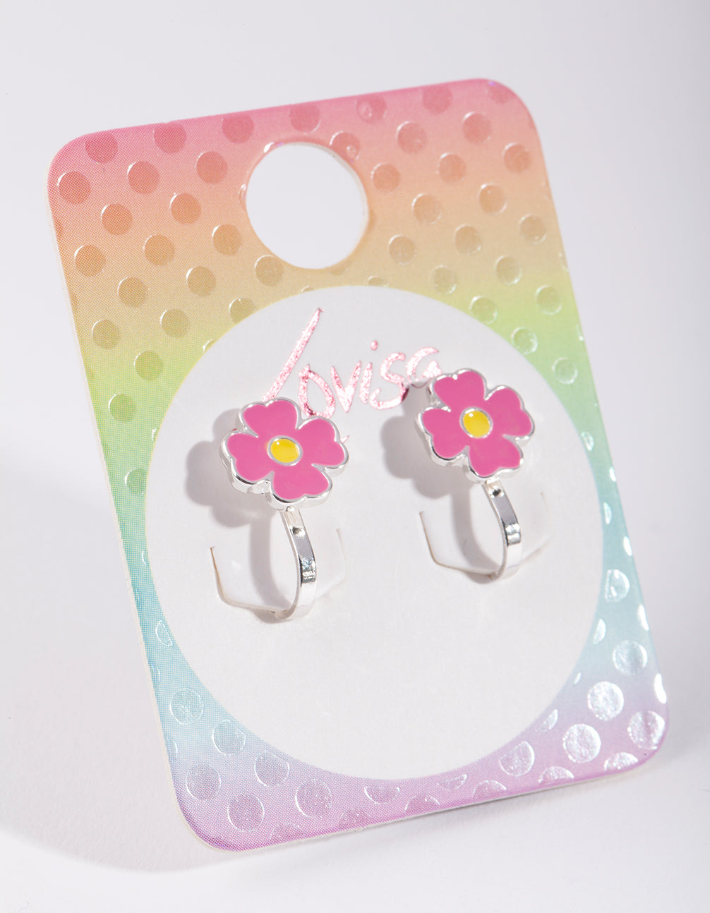 Kids Pink Enamel Flower Clip On Earring