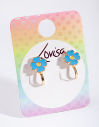 Kids Blue Enamel Flower Clip On Earring - link has visual effect only