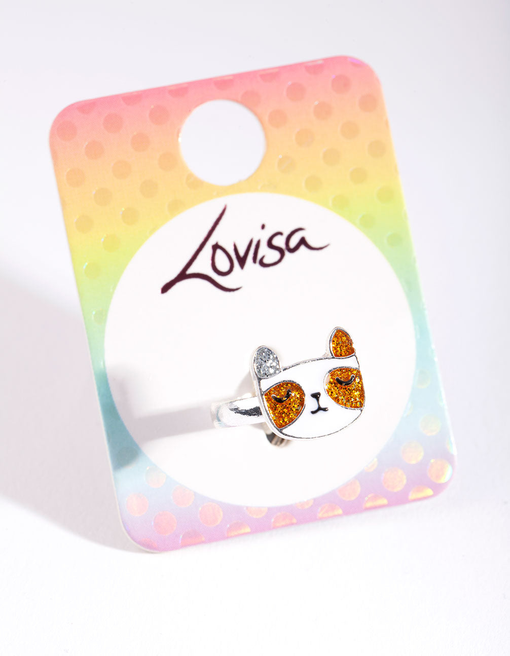 Kids Silver Glitter Adjustable Ring