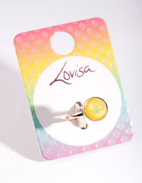Kids Yellow Glitter Stone Ring - link has visual effect only