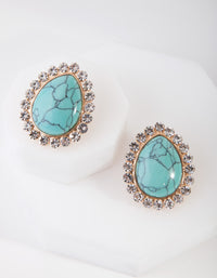 Gold Diamante Turquoise Stone Stud Earring - link has visual effect only