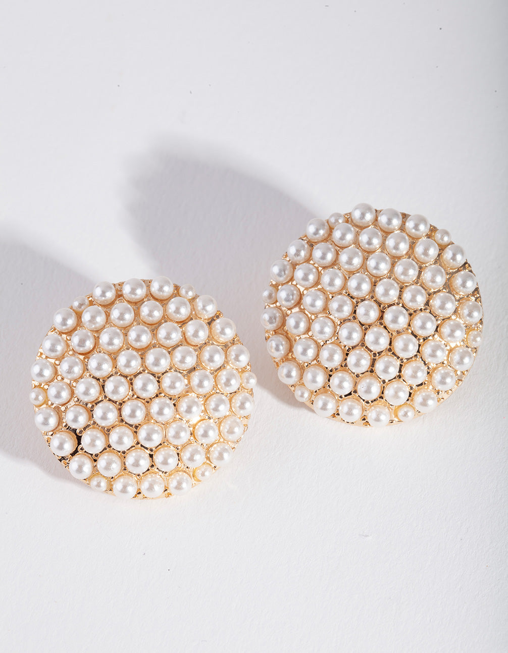 Gold Pearl Round Disk Stud Earring