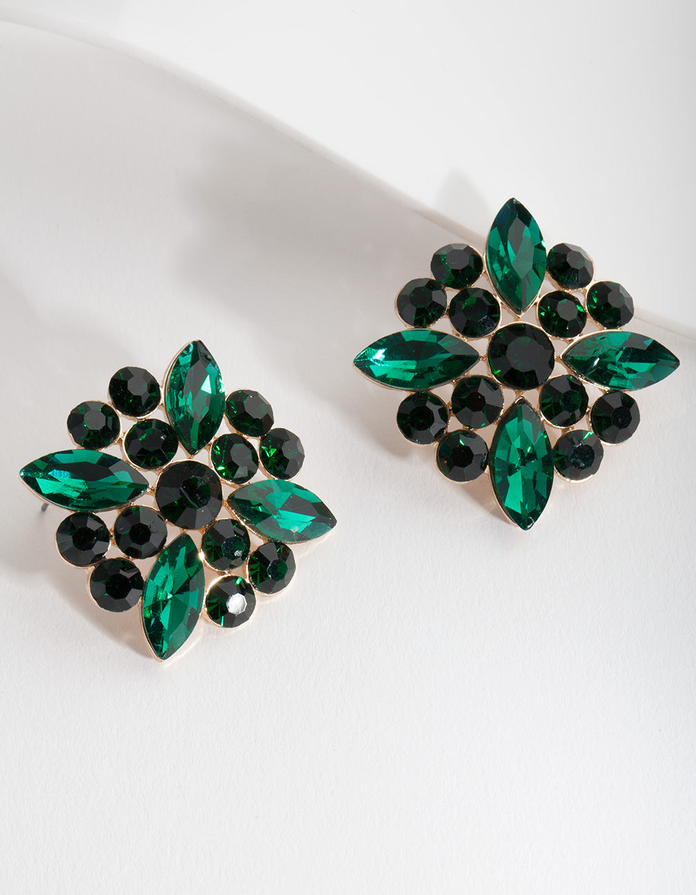 Green Mixed Gem Stud Earring