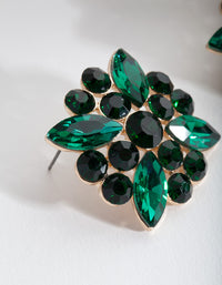 Green Mixed Gem Stud Earring - link has visual effect only