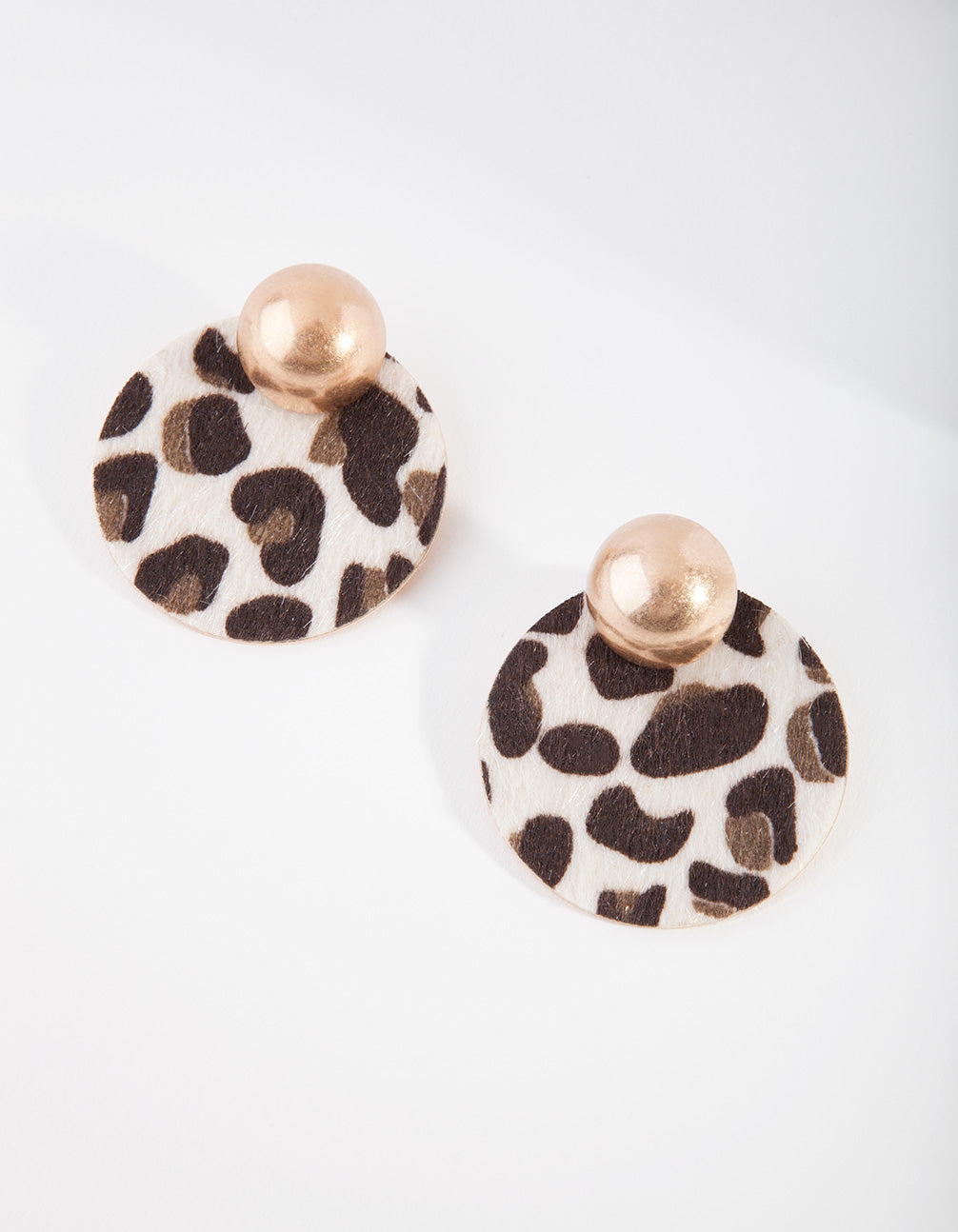 Gold Fluffy Leopard Circle Earring