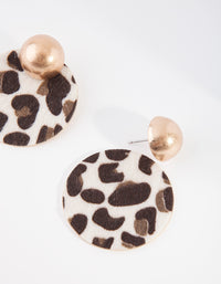 Gold Fluffy Leopard Circle Earring - link has visual effect only