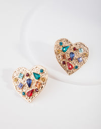 Gold Textured Diamante Heart Earring - link has visual effect only