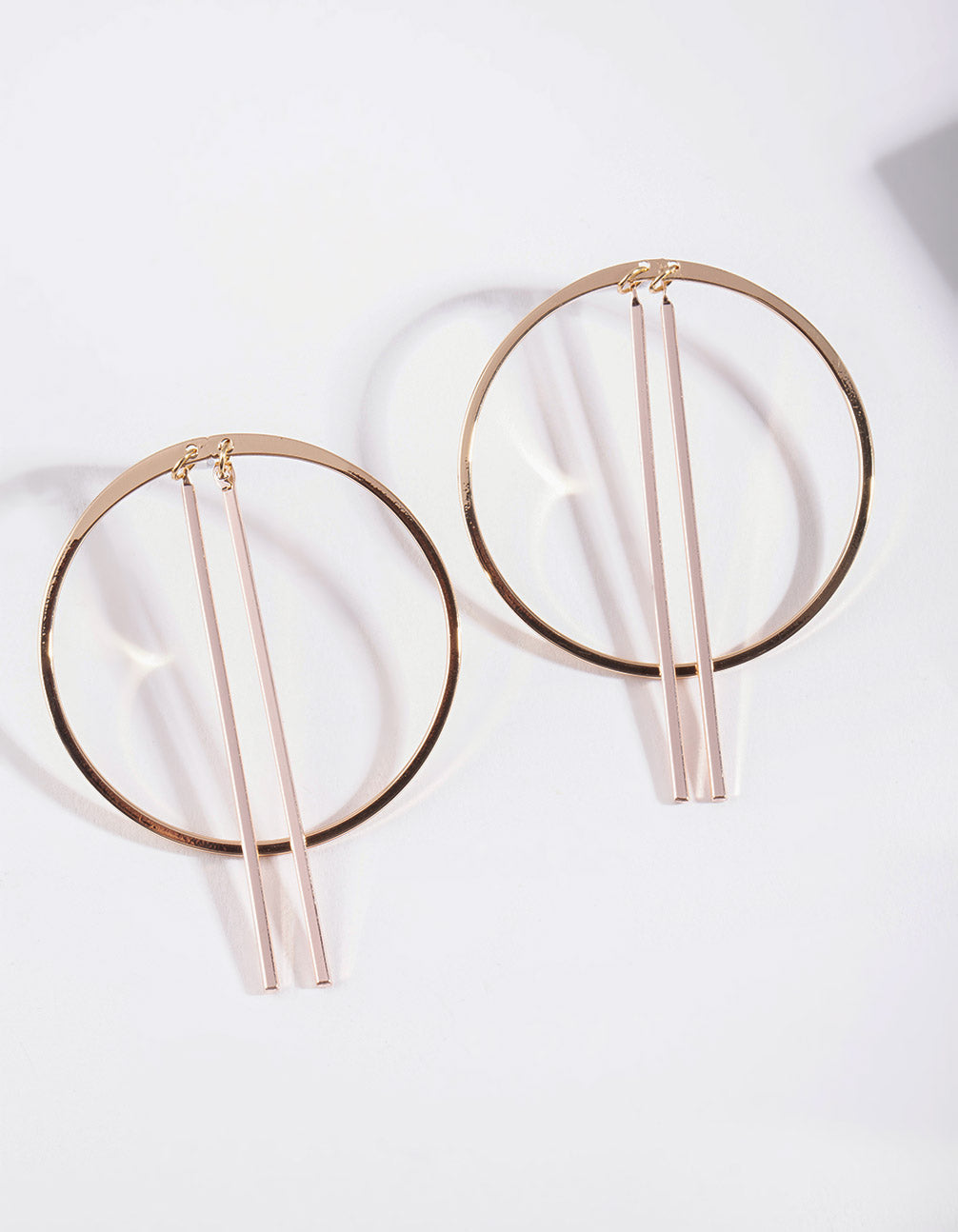 Mix Metal Thin Hoop Stick Stud Earring