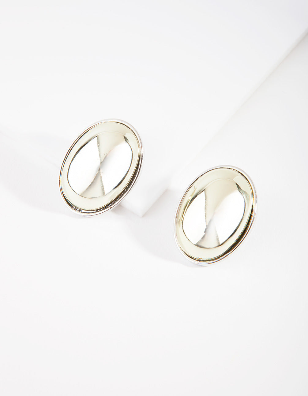 Mixed Metal Oval Dome Stud Earring