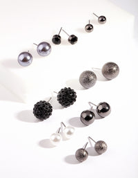 Gunmetal Pearl Ball Earring Pack - link has visual effect only