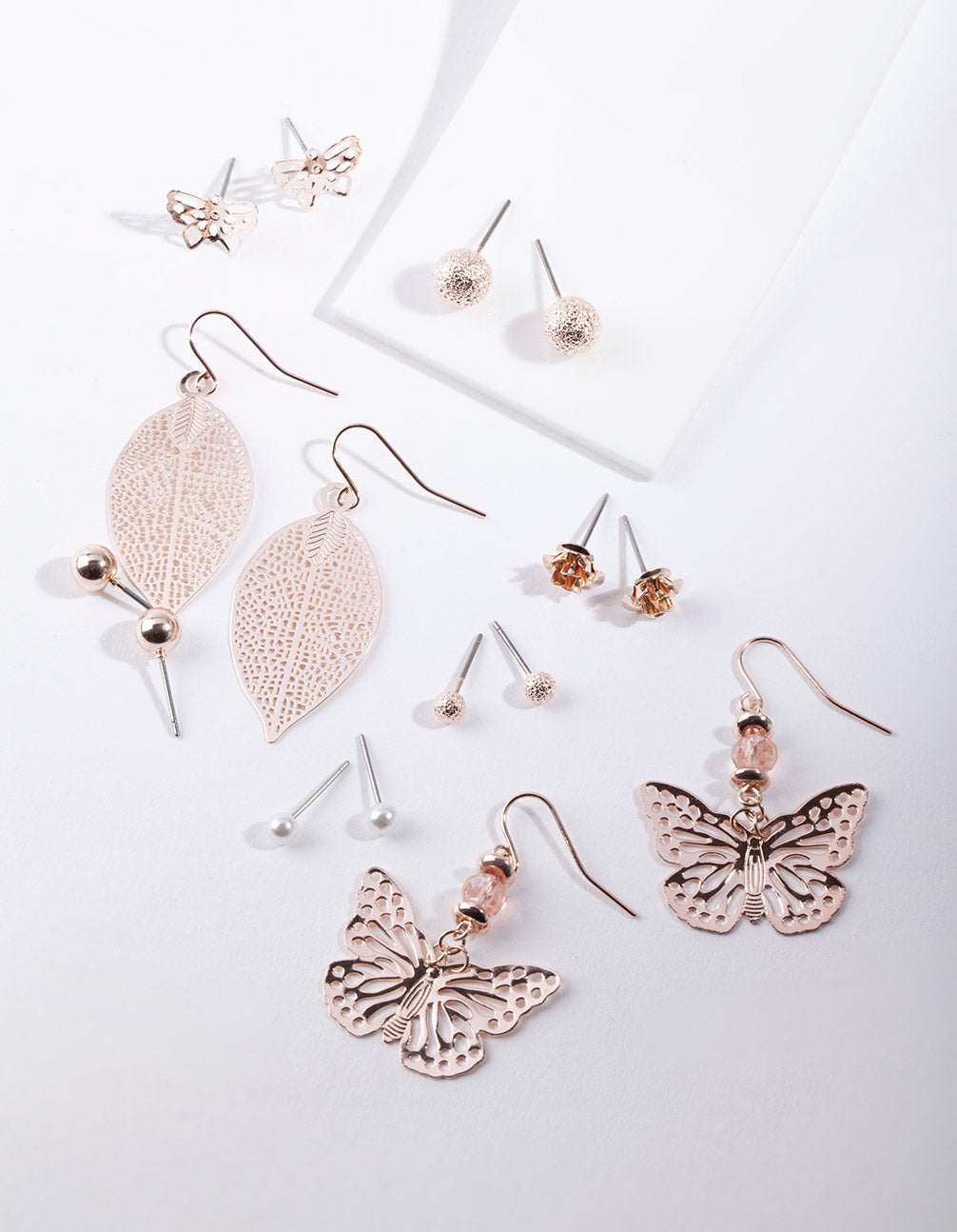 Rose Gold Cut-Out Butterfly Earring 8 Pack