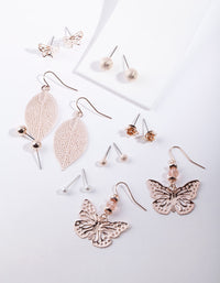 Rose Gold Cut-Out Butterfly Earring 8 Pack - link has visual effect only