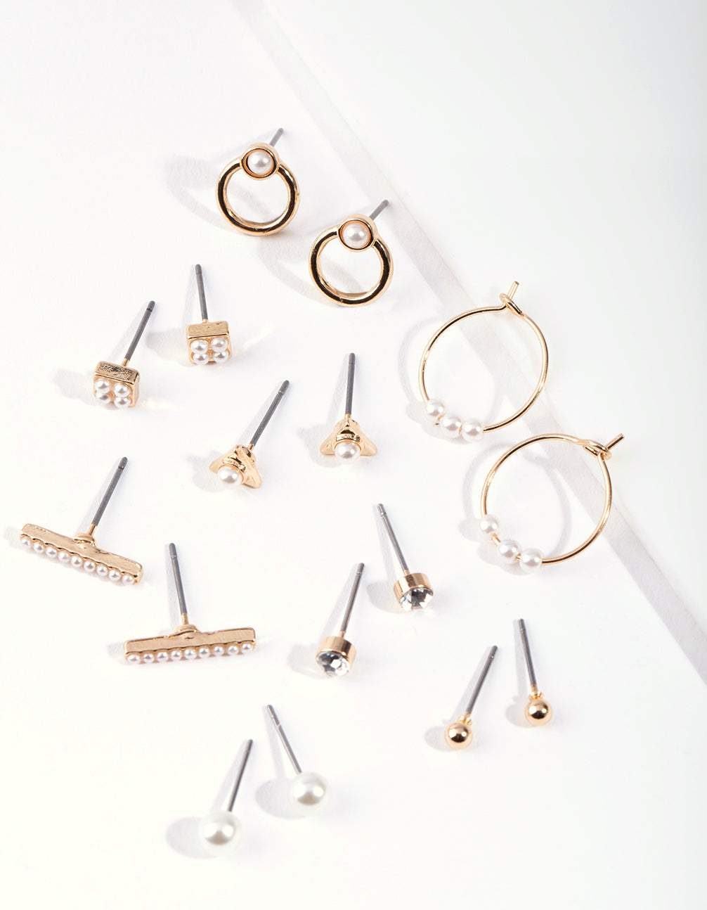 Gold Mixed Pearl Hoop Earring 8 Pack