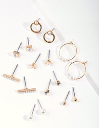 Gold Mixed Pearl Hoop Earring 8 Pack - link has visual effect only