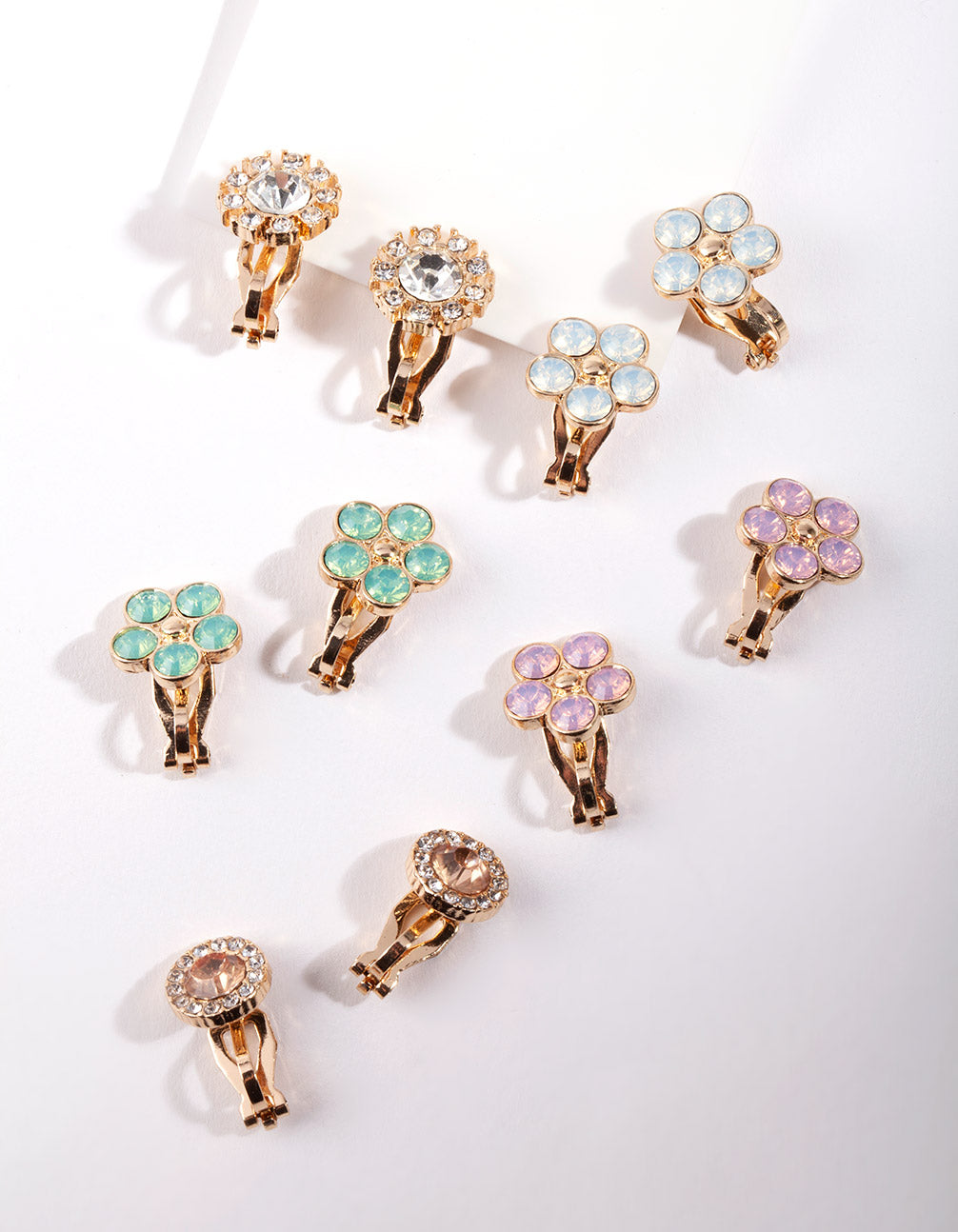 Gold Mixed Diamante Floral Clip-On Earring 5 Pack
