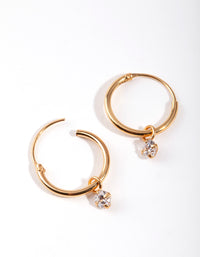 Gold Plated Sterling Silver Cubic Zirconia Dangle Hoop Earring - link has visual effect only
