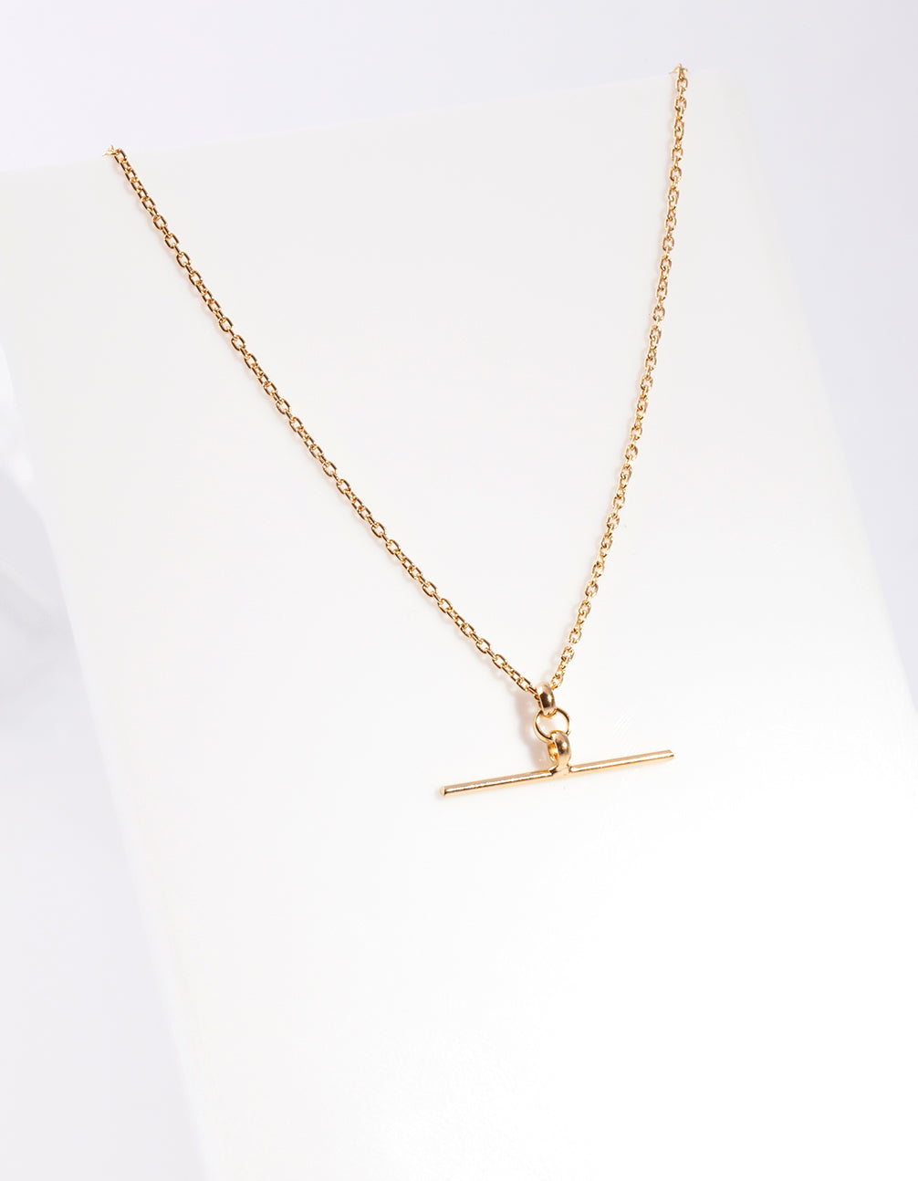Gold Plated Sterling Silver Fine T Bar Necklace