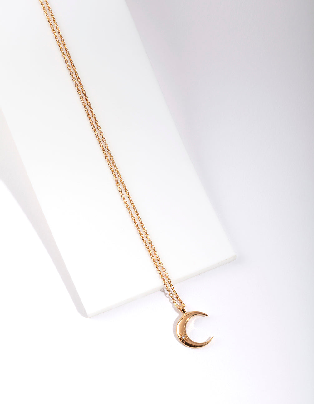 Gold Plated Sterling Silver Crescent Moon Necklace