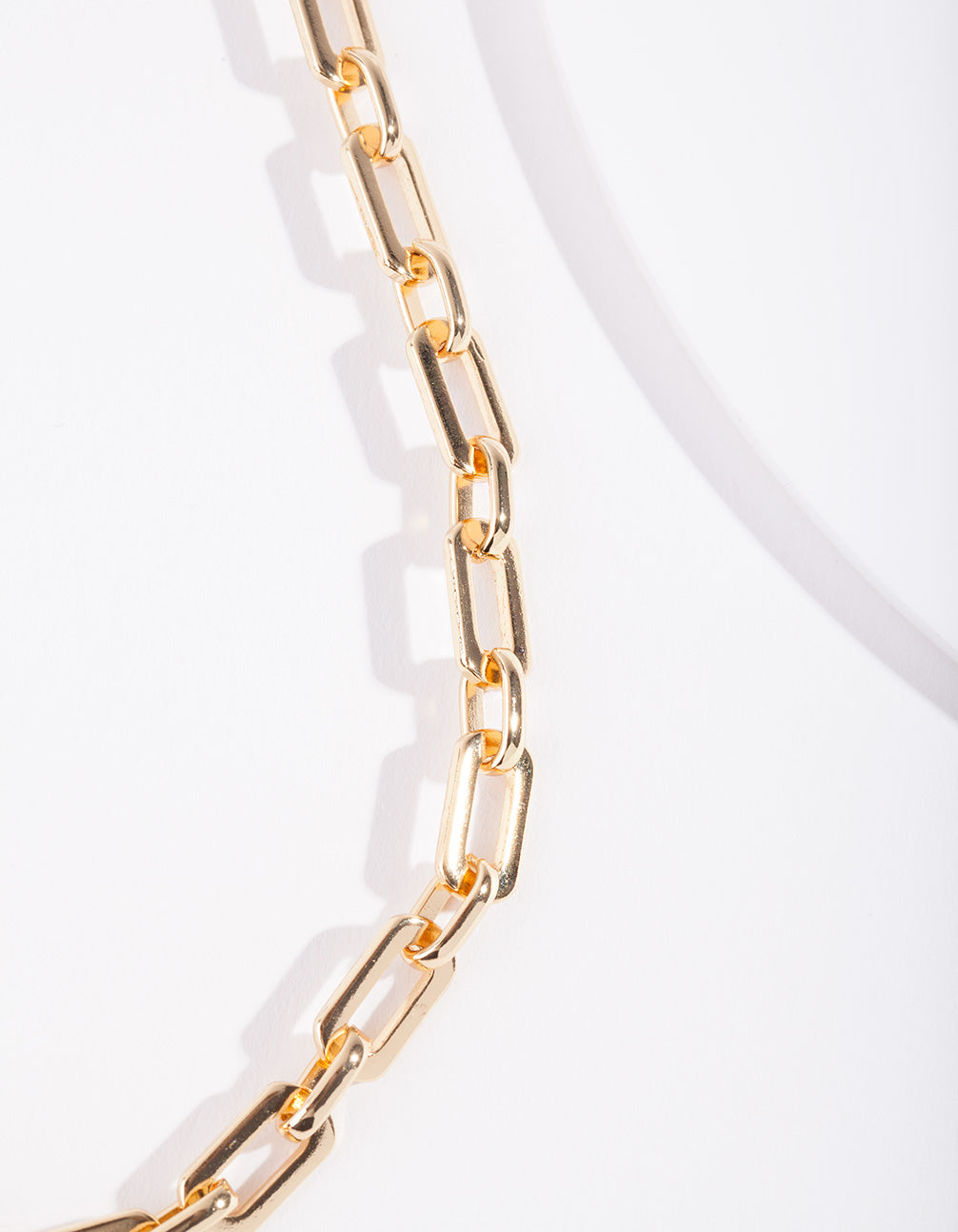 Real Gold Plated Rectangle Link Necklace