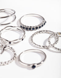 Rhodium Navy Textured Twist Ring Pack - link has visual effect only