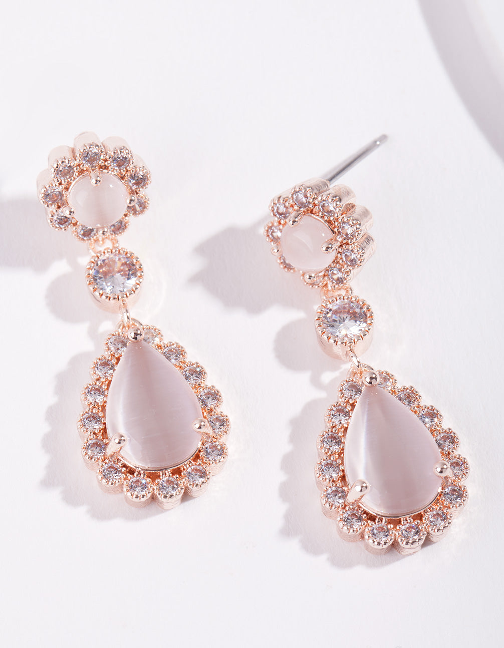 Rose Gold Diamond Simulant Floral Earring