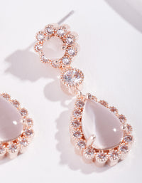 Rose Gold Diamond Simulant Floral Earring - link has visual effect only
