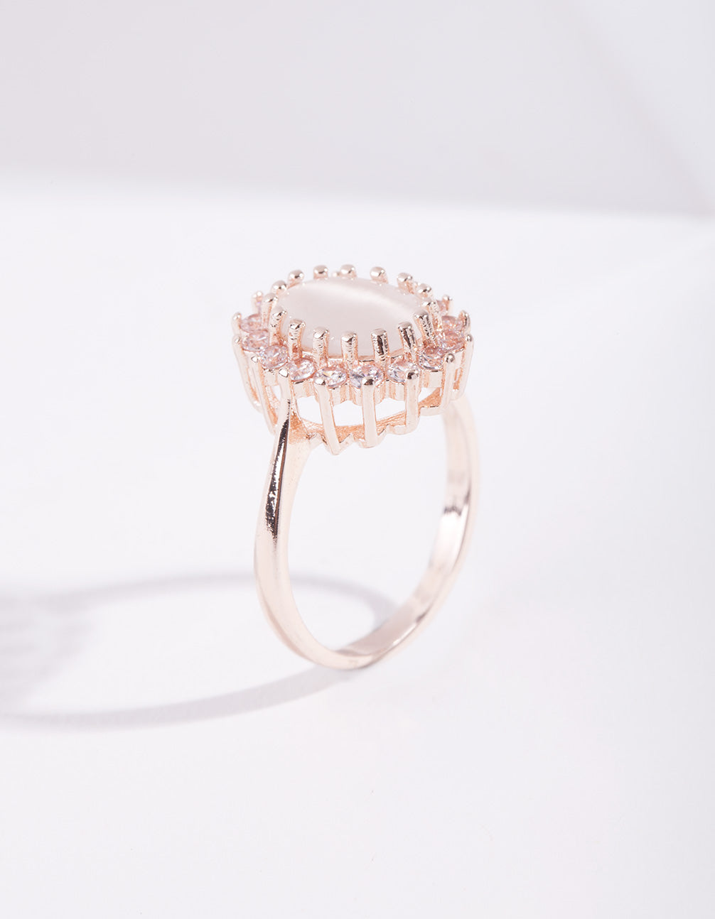Rose Gold Diamond Simulant Flower Ring