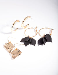 Gold Black Molten Flower Earring Pack - link has visual effect only