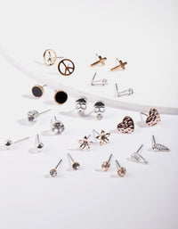 Mixed Metal Charm Earring 12 Pack - link has visual effect only