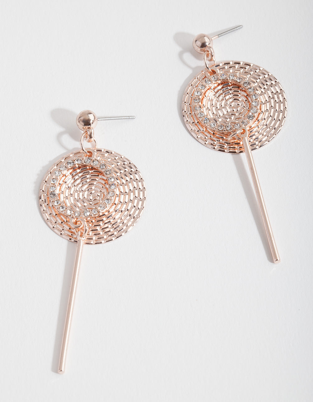 Rose Gold Textured Disc Drop Earring